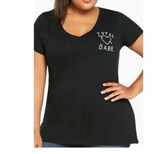 "Torrid ""Total Babe"" Black VNeck T-Shirt"